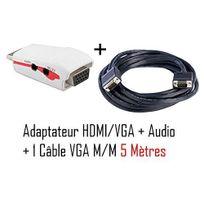 Cabling - Adaptateur Hdmi - Vga + audio pour ordinateur/Tablette vers vidéo projecteur + Cable Vga M/M 5 mètres