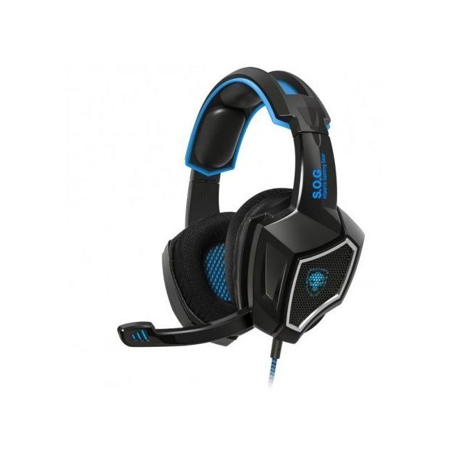 SPIRIT OF GAMER XPERT-H500 Bleu Micro-casque filaire, son virtual 7.1 surround, rétro-éclairage bleu LED avec l'emblème Skull SOG