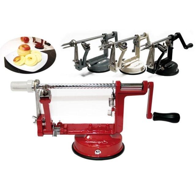 Pèle-pomme manuel - Mécanisme épluche et coupe pommes - Rouge