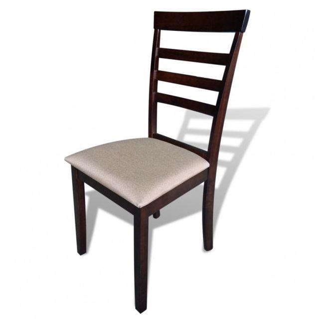 Maja+ Lot de 4 chaises marroncrème en bois massif pas