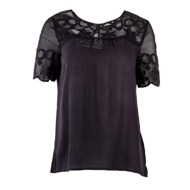 bf09856eccc Best Mountain - Haut noir empiècement transparent floral femme - pas cher  Achat   Vente Tuniques - RueDuCommerce