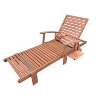habitat et jardin bain de soleil pliant en bois exotique tokyo maple marron - Transat Bois Pas Cher