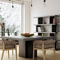 Tema Home - TemaHome table repas Dusk 130 x 130 cm effet béton