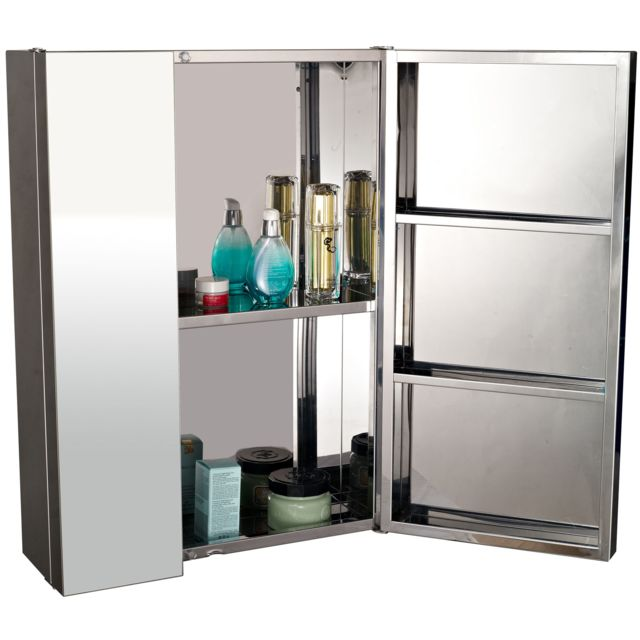 homcom armoire miroir rangement toilette salle de bain meuble mural double porte acier. Black Bedroom Furniture Sets. Home Design Ideas