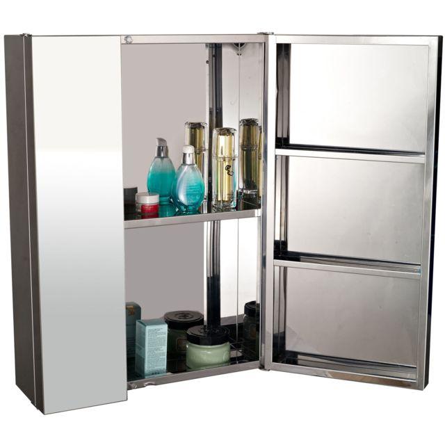 Homcom armoire miroir rangement toilette salle de bain - Armoire de salle de bain pas cher ...