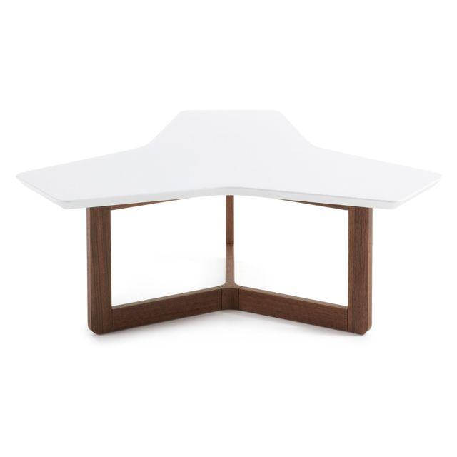 Kavehome Table basse Treffles 95 cm, noyer et blanc
