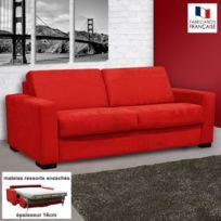 - Canapé 3 places convertible 16cm ressorts microfibre rouge Louisa