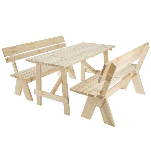 Mendler - Garniture de jardin Oslo, table + bancs en bois massif ...
