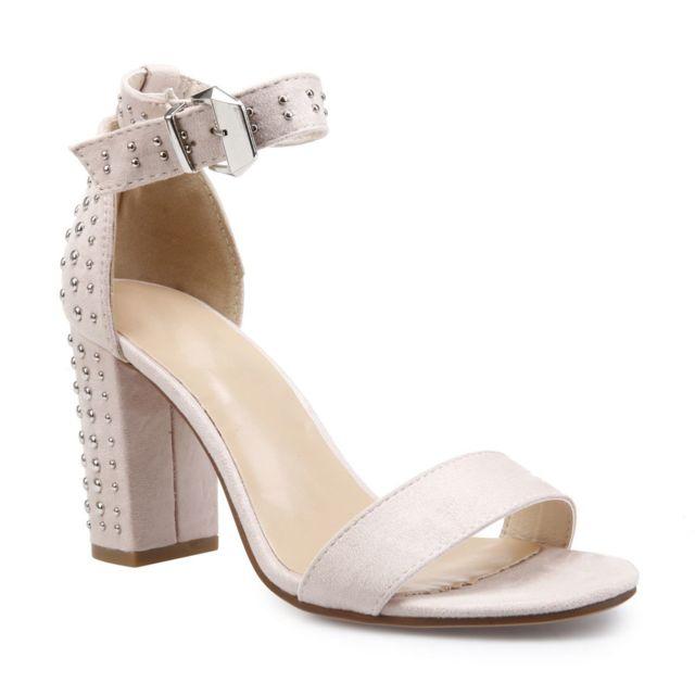 lamodeuse sandales nude talon avec clous d coratifs beige pas cher achat vente sandales. Black Bedroom Furniture Sets. Home Design Ideas
