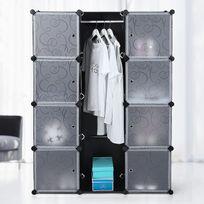 Rocambolesk - Superbe Armoire Penderie Cubes/étagère de rangement modulables plastiques imprimé cadre en métal Lpc30B neuf