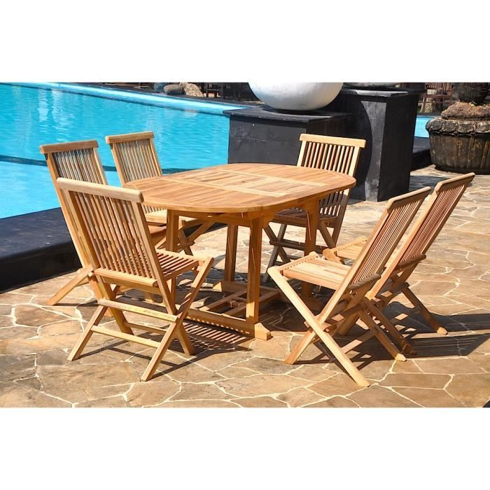 Salon de jardin Kajang 6/8 personnes – 6 chaises + table ovale