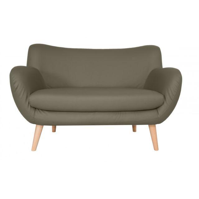 Rocambolesk Canapé Adele 2 Pu soft 24 taupe avec pieds naturels sofa divan