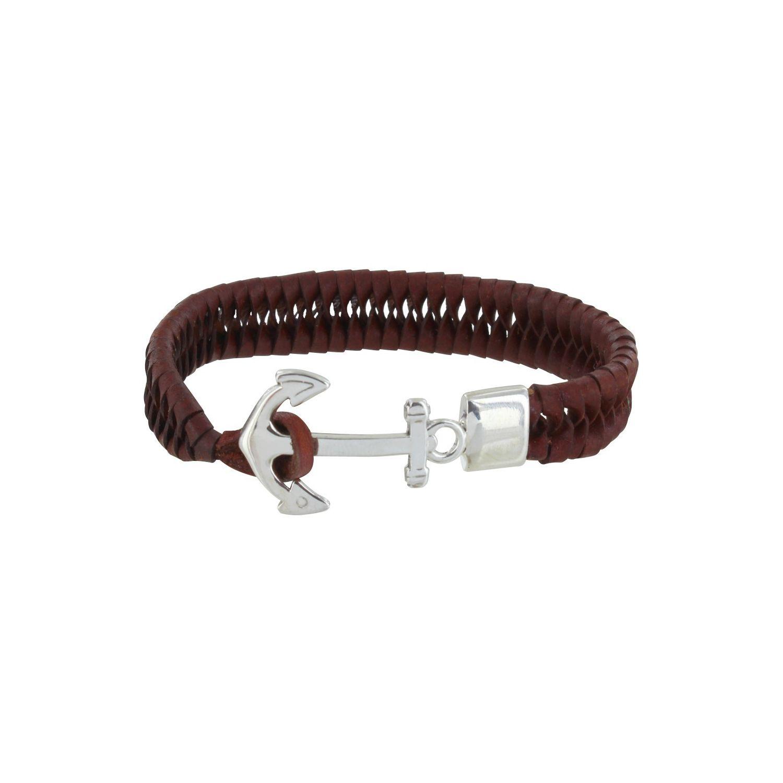 33d582e9d4a LES POULETTES BIJOUX- Bracelet Homme Ancre Argent et Cuir Marron Foncé Tréssé  Plat - taille