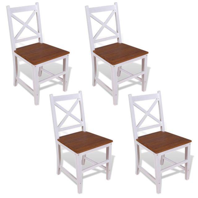 Chaise de salle à manger 4 pcs Bois de teck massif et d'acajou   Multicolore