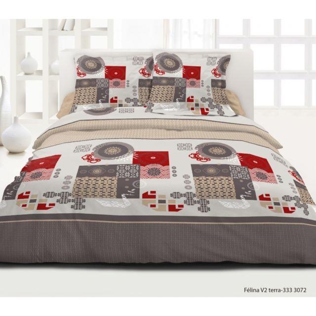 univers decor parure de draps 4 pi ces felina rouge 100 coton 57 fils cm blanc nc pas. Black Bedroom Furniture Sets. Home Design Ideas