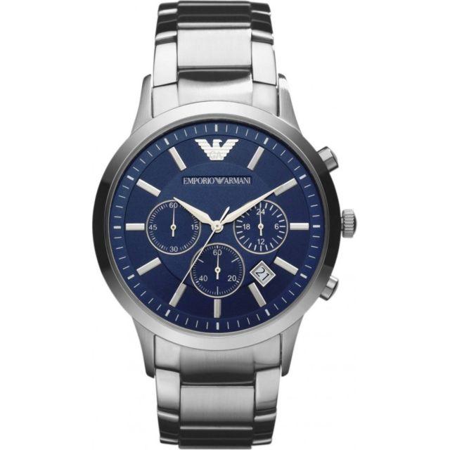 Bracelet Bleu Armani Fond Renato En Montre Acier Ar2448 Homme PkilwTOXZu