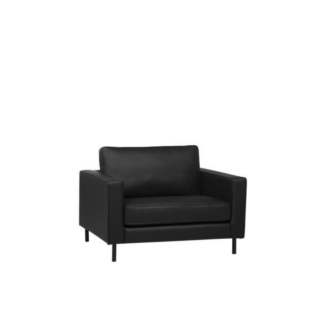 BELIANI Fauteuil en cuir noir SAVALEN - noir