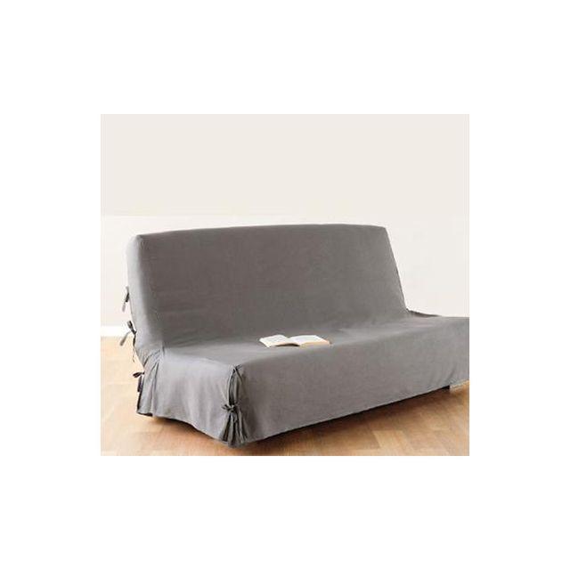 atmosphera housse de clic clac 140x200 cm gris clair 100 coton pas cher achat vente. Black Bedroom Furniture Sets. Home Design Ideas