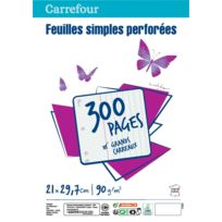 CARREFOUR - Lot de 300 feuilles simples perforées A4 - Grands carreaux