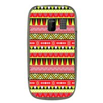 Kabiloo - Coque souple pour Nokia Asha 302 avec impression Motifs aztèque jaune et rouge