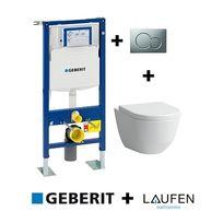 Geberit - Pack Up320 + cuvette sans bride Rimless + plaque Sigma Chr mate