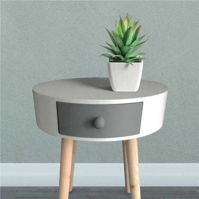 Zoli99 Table d'appoint Kamille Blanc et Gris