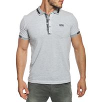 Hugo Boss - Polo homme slim fit manches courtes gris chiné