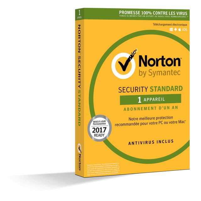 NORTON SECURITY 2018 STANDARD Le nouveau NORTON™ SECURITY rassemble le meilleur de Norton sur l'appareil de votre choix : PC, Mac®, smartphone ou tablette. Protégez facilement votre ordinateur des virus, menaces en ligne, vols d'identit&e