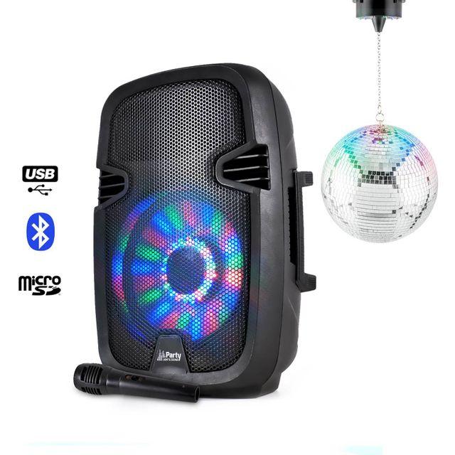 Party Sound Enceinte sur batterie avec boomer à Leds Micro + Boule à facettes 20cm