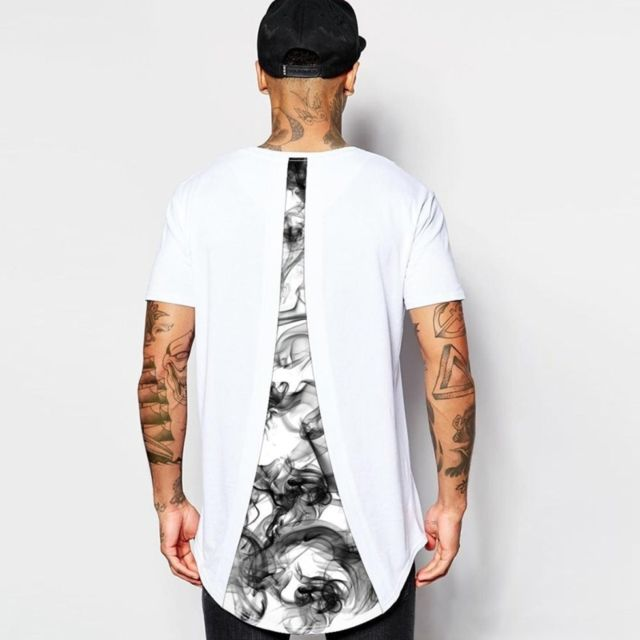 7a96b5755 Wewoo - Hommes Rouge Fumée Impression Numérique T-shirt Col Rond ...