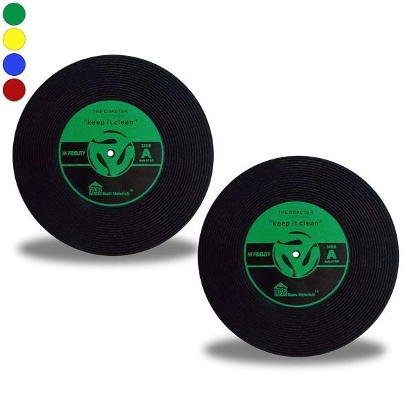 Totalcadeau 2 dessous de verre disque vinyle vert