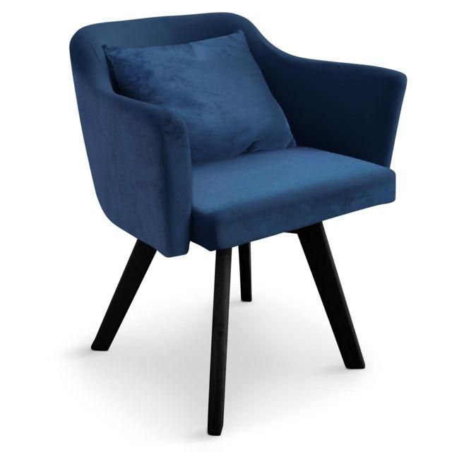 MENZZO - Chaise / Fauteuil scandinave Dantes Velours Bleu