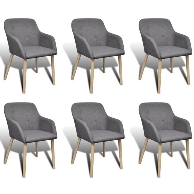 Vidaxl - Chaise gondole accoudoir intérieur chêne et tissu 6 pièces gris foncé