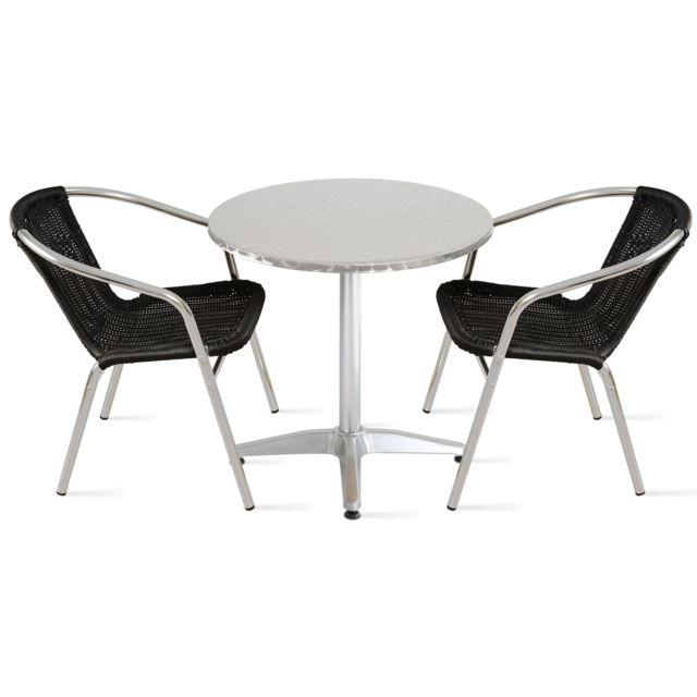 Table de jardin ronde en aluminium et 2 fauteuils - Noir
