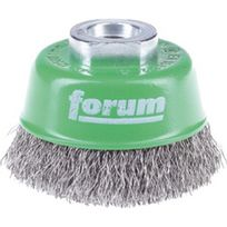 Forum - Brosse à boisseau, fil d'acier inoxydable, ondulé, Ø de la brosse : 60 mm, Epaisseur du fil 0,30 mm, Vitesse maxi. 12500 tr/mn