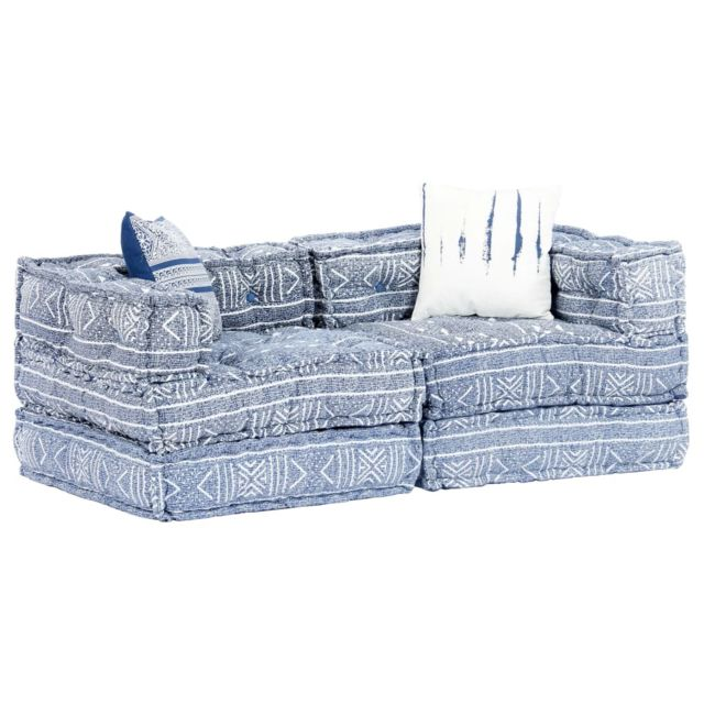 Vidaxl Canapé-lit modulaire à 2 places Indigo Tissu Patchwork