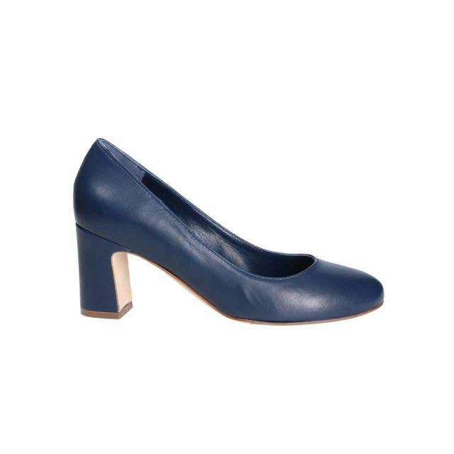 The Seller Femme S5506BLUE Bleu Cuir Escarpins