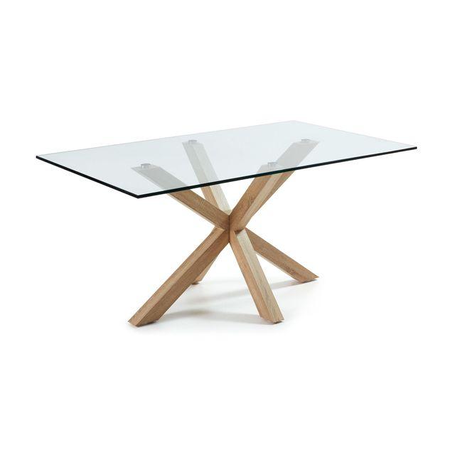 Kavehome Table Argo 180x100 cm, acier sonoma et verre transparent