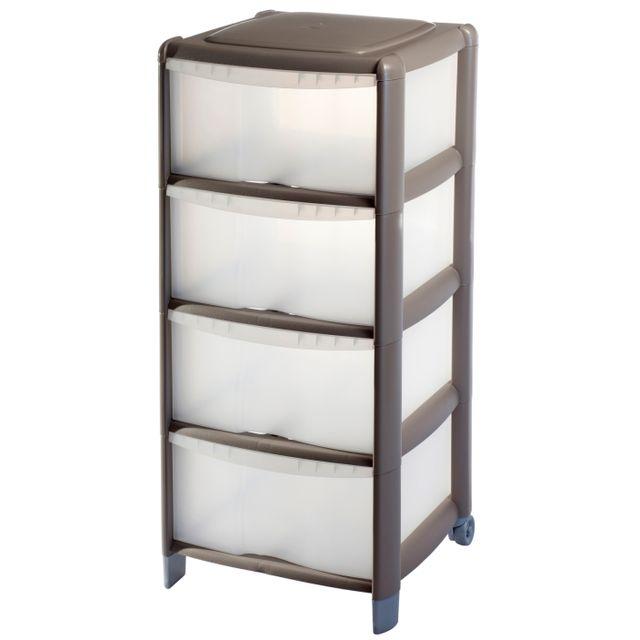 carrefour tour de rangement 4 tiroirs 80l taupe 9022069al9car pas cher achat vente. Black Bedroom Furniture Sets. Home Design Ideas