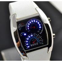 Chic And Watch - Montre Digital Led Bleu Tableau de Bord Voiture Sport Bracelet Caoutchouc binaire blanche