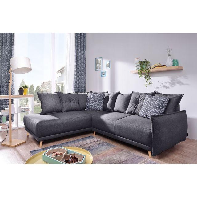 bobochic lena canap scandinave d 39 angle gauche gris fonc 236x90x190cm gris fonc. Black Bedroom Furniture Sets. Home Design Ideas