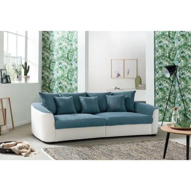 CANAPE - SOFA - DIVAN TAHITI MEGASOFA Canapé droit 4 places + 3 coussins de déco - Simili et tissu bleu et blanc - L 242
