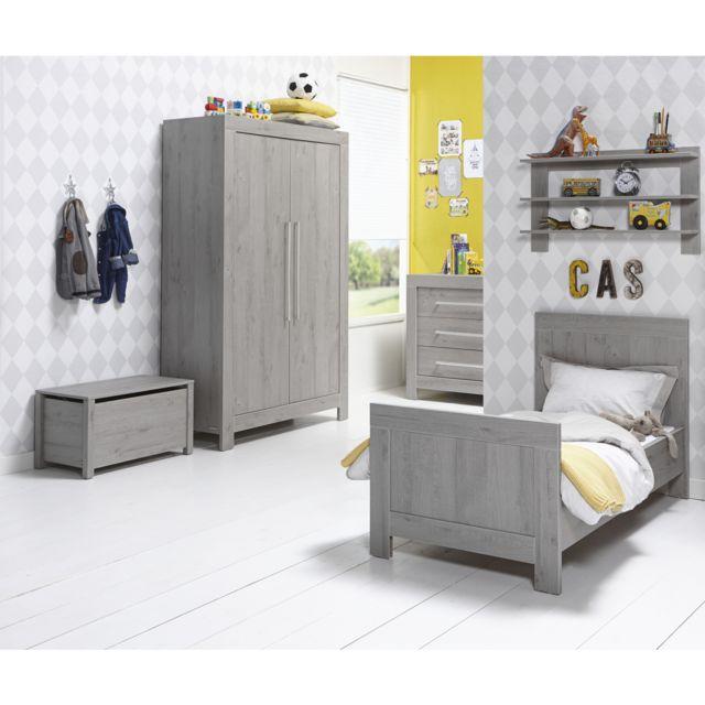 Twf Chambre complète lit évolutif 70x140 - commode à langer - armoire 2 portes Florida - Gris