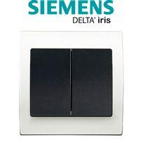 Siemens - Double Va et Vient Anthracite Delta Iris + Plaque basic Blanc