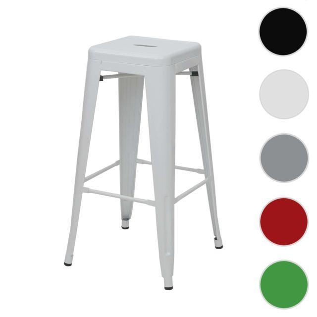 Mendler Tabouret de bar Hwc-a73, chaise de comptoir, métal, empilable, design industriel ~ blanc