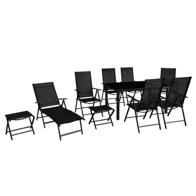 Vidaxl Mobilier à dîner de jardin 10 pcs Aluminium Noir