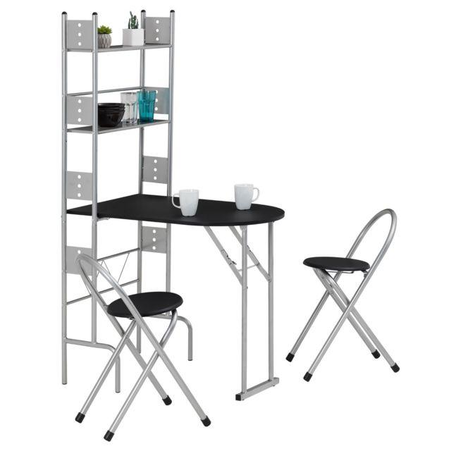 Et Structure Métal Aluminium Ensemble Table ChaisestabouretsEn De Cuisine Pliable Avec Comptoir 2 Mdf Noir Jonathan Couleur hCxdtsQrBo