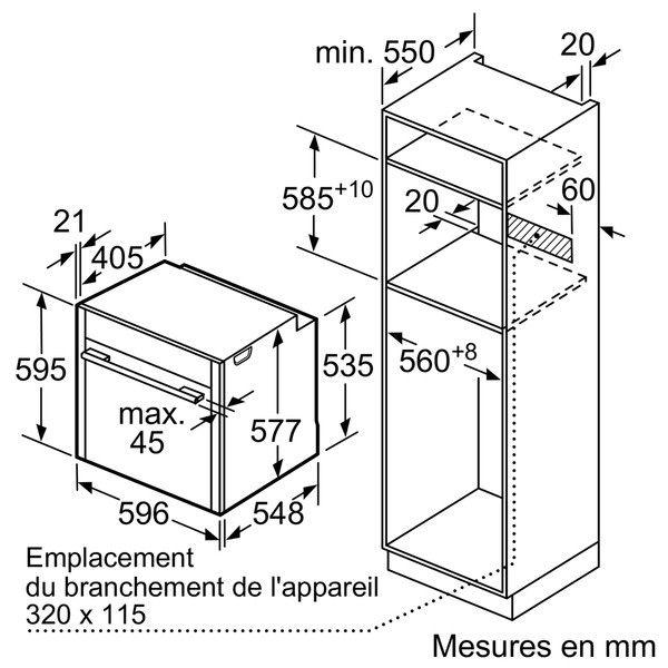 NEFF - four intégrable 71l 60cm a+ pyrolyse inox - b57cr22n0