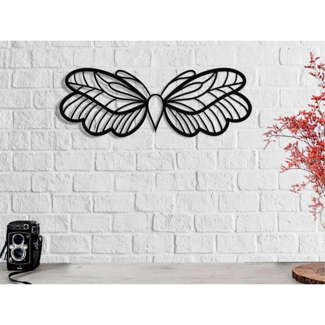 Homemania Décoration Murale Papillon - Art Mural - pour Séjour, Chambre - Noir en Métal, 50 x 0,16 x 19 cm
