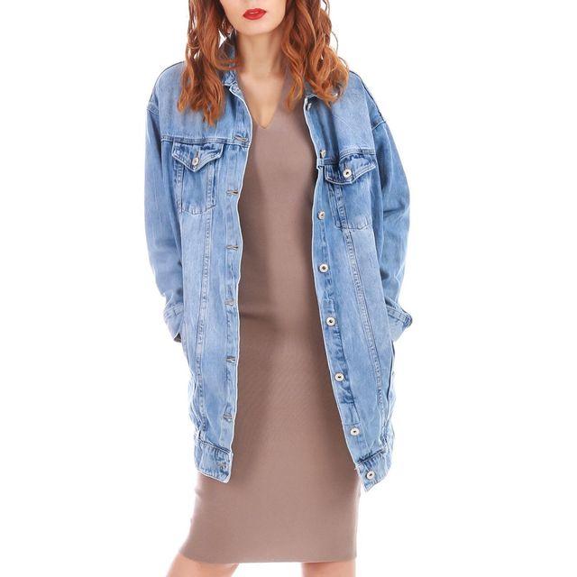 Lamodeuse - Veste oversize en jean style boyfriend Bleu - S/M